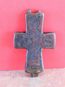 Antique Rare Brass Neck Cross Icon
